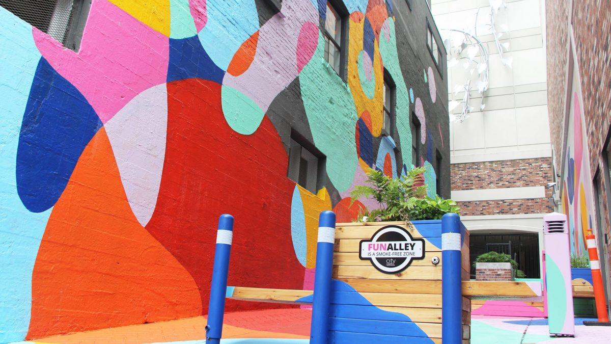 A colourful alley in Lower Lonsdale.